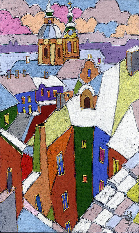 Pastel Art Print featuring the painting Prague Old Roofs Winter by Yuriy Shevchuk