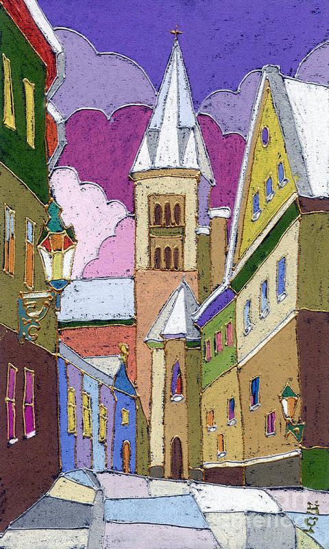 Pastel Print featuring the painting Prague Old Street Jilska Winter by Yuriy Shevchuk