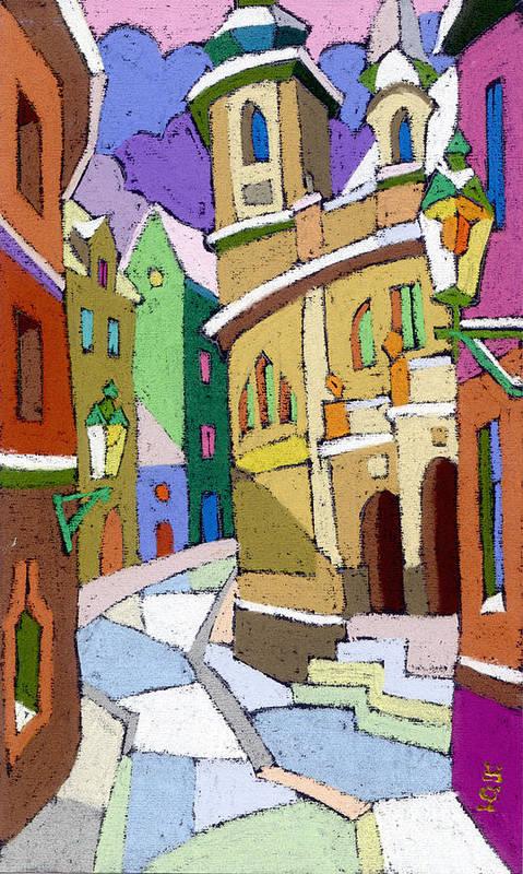 Pastel Art Print featuring the painting Prague Old Street Karlova Winter by Yuriy Shevchuk