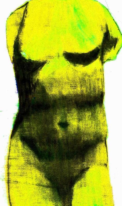 Yellow Art Print featuring the drawing Yellow Aphrodite by Jennifer Ott