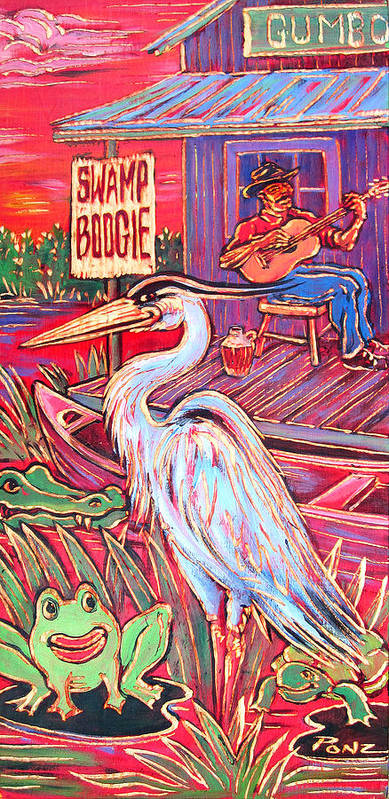 Blues Art Print featuring the painting Swamp Boogie by Robert Ponzio