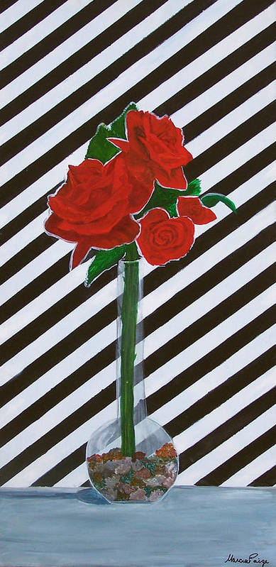 Flowers Art Print featuring the painting Four Roses by Marcia Paige