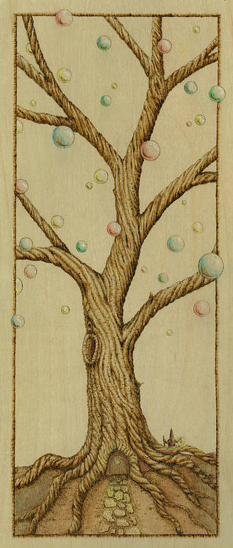 Tree Print featuring the pyrography Coming Home by Jason Gianfriddo
