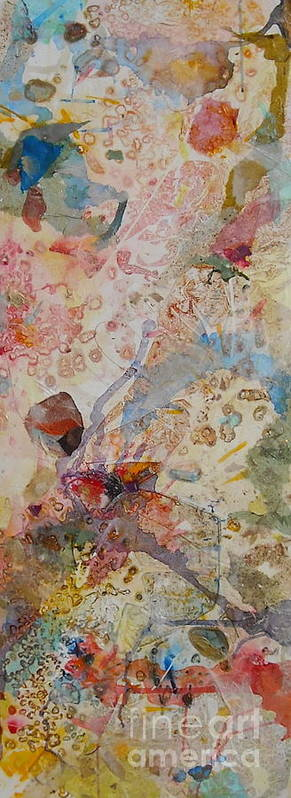 Mixed Media Art Print featuring the painting Runes Ocher And Pink I by Mickey Bond