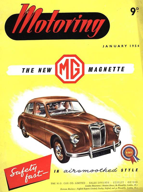 1950�s Print featuring the drawing 1950s Uk Cars Mg Magnette Covers by The Advertising Archives