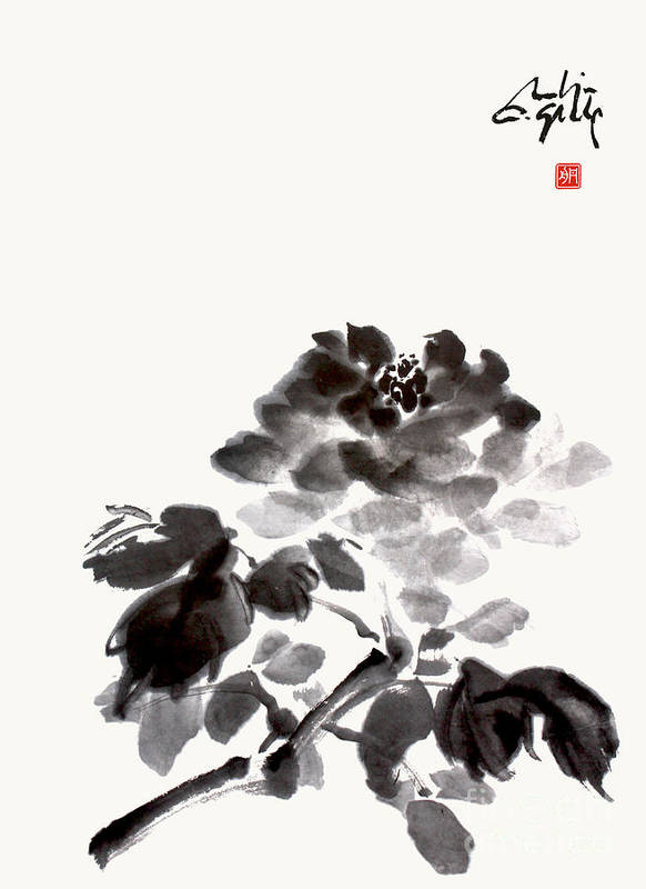 Rose Art Print featuring the painting A Rose That Blooms by Nadja Van Ghelue