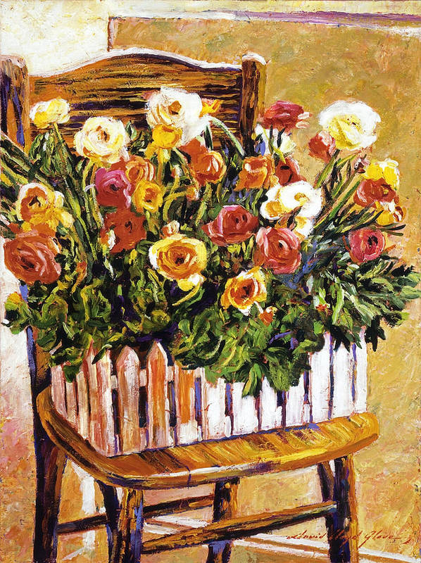 Still Life Art Print featuring the painting Chair Of Flowers by David Lloyd Glover