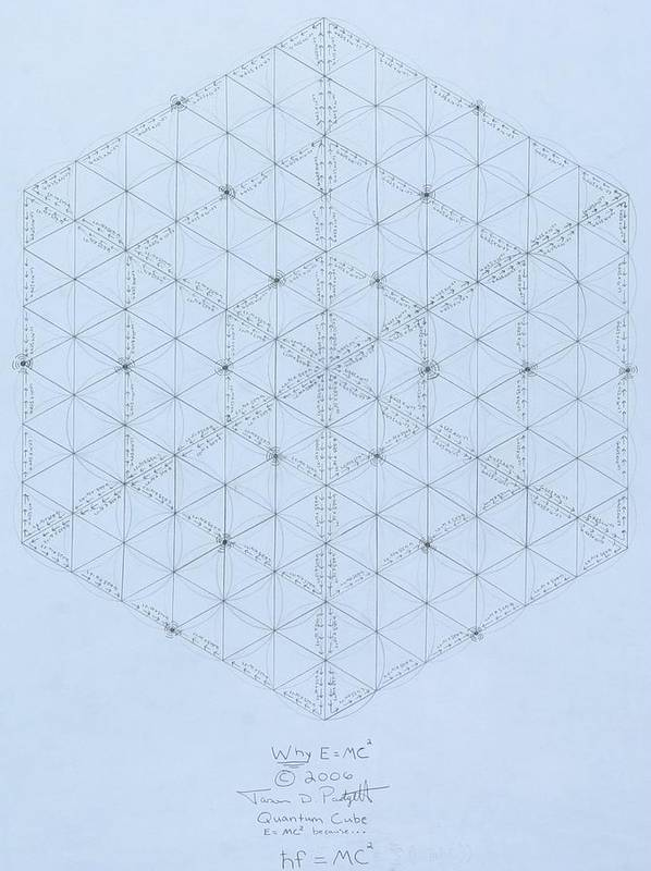 Energy Art Print featuring the drawing Why Energy Equals Mass Times The Speed Of Light Squared by Jason Padgett
