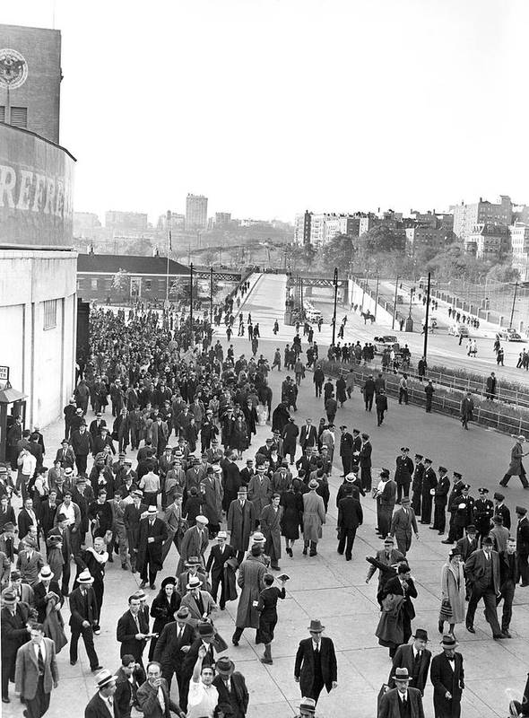 1938 Art Print featuring the photograph Fans Leaving Yankee Stadium. by Underwood Archives