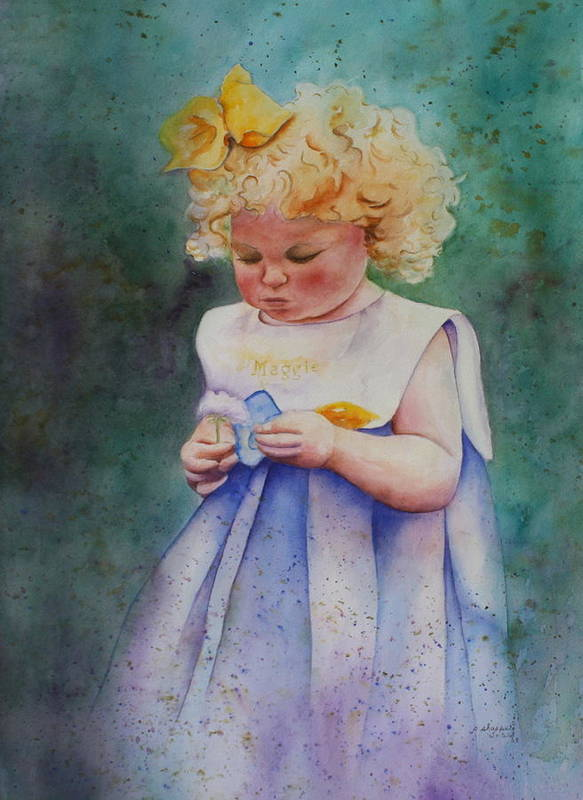 Child Art Print featuring the painting Maggie's Dandelion by Patsy Sharpe