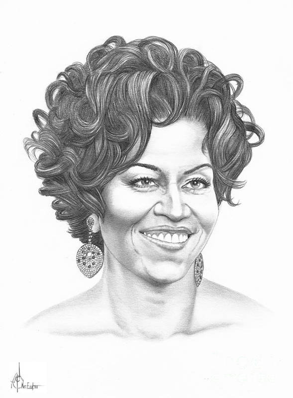 Portrait Print featuring the drawing Michelle Obama by Murphy Elliott