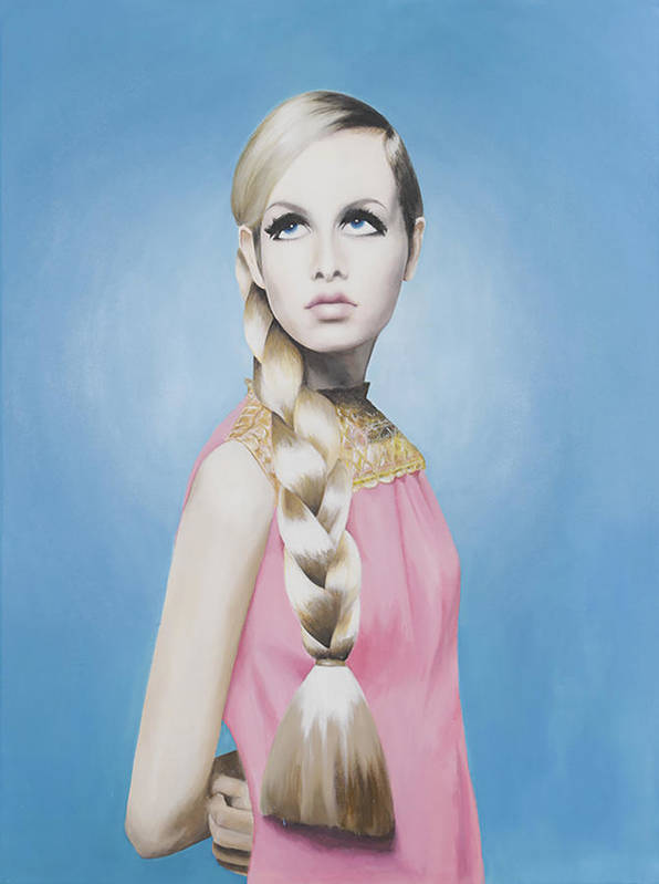 Twiggy Art Print featuring the painting Portrait Of Twiggy by Moe Notsu