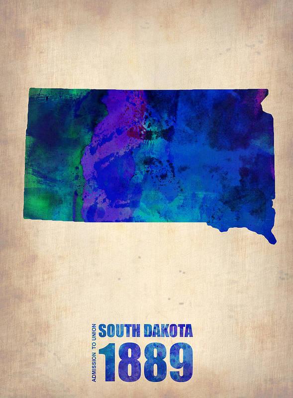South Dakota Art Print featuring the painting South Carolina Watercolor Map by Naxart Studio