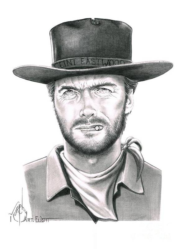Pencil Art Print featuring the drawing Clint Eastwood by Murphy Elliott