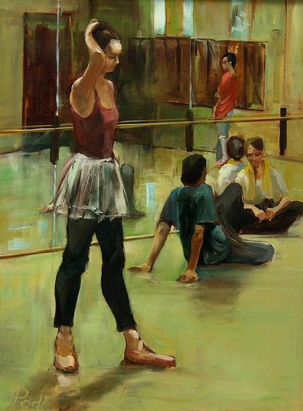 Dancers Art Print featuring the painting English National Ballet Dancers In The Studio by Podi Lawrence