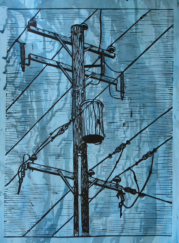 Lino Art Print featuring the drawing Pole With Transformer by William Cauthern