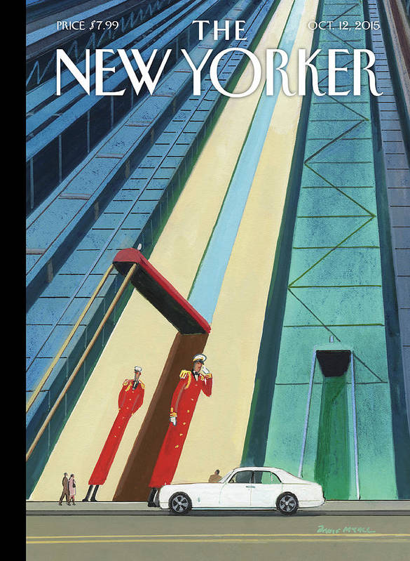Buildings Art Print featuring the painting New Yorker October 12th, 2015 by Bruce McCall