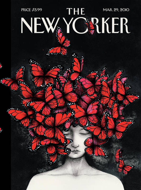 Butterflies Art Print featuring the painting New Yorker March 29th, 2010 by Ana Juan