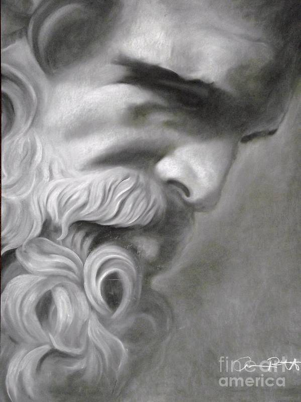 Zeus Art Print featuring the drawing Zeus by Adrian Pickett