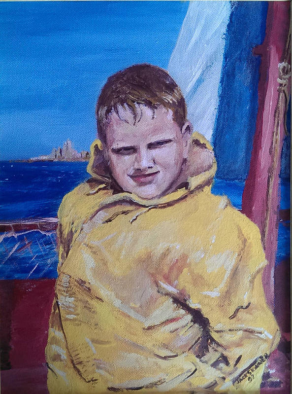Boat Art Print featuring the painting A Boy On A Boat by Jack Skinner