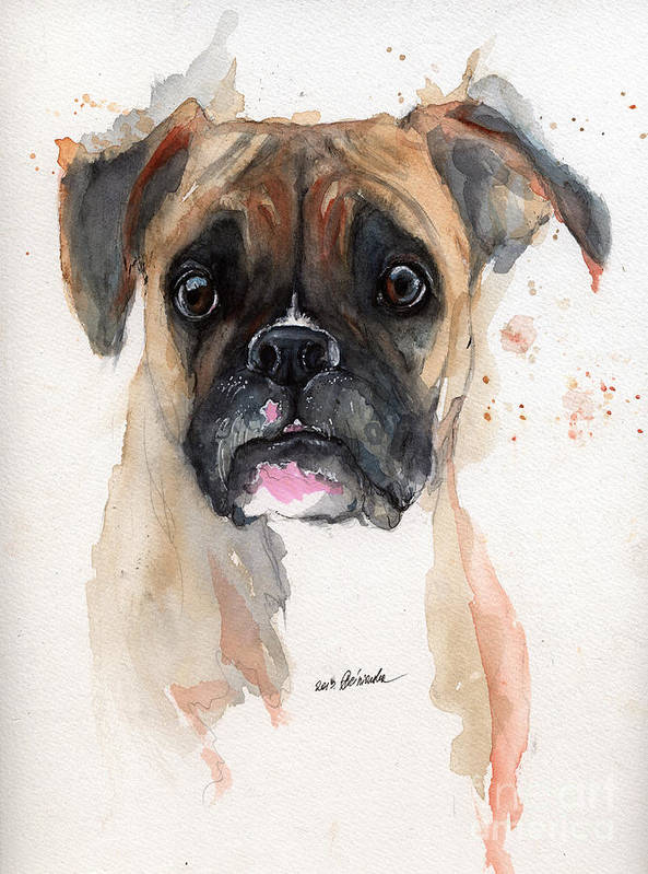 Dog Art Print featuring the painting A Portrait Of A Boxer Dog by Angel Tarantella