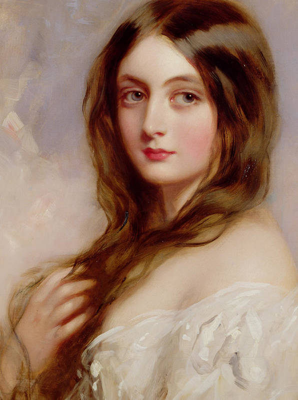 Portrait Print featuring the painting A Young Girl In A White Dress by Richard Buckner