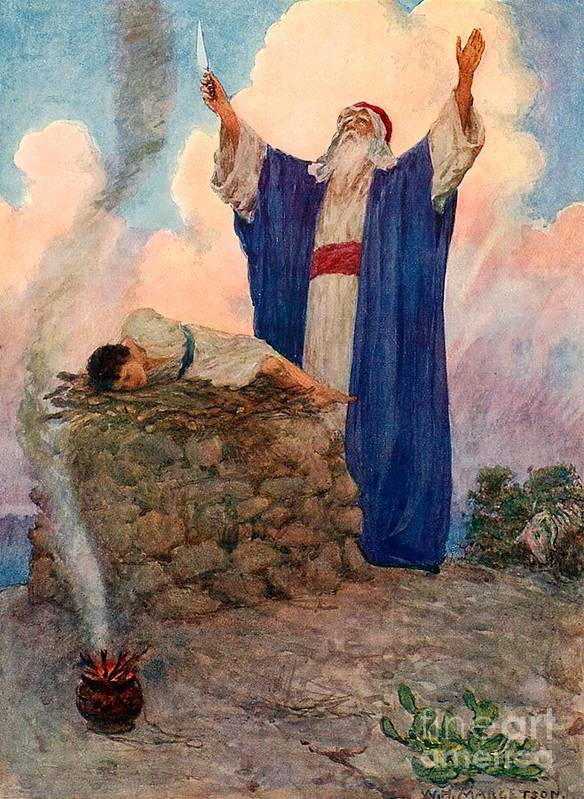 Bible; Abraham; Isaac; Mount Moriah; Sacrifice Art Print featuring the painting Abraham And Isaac On Mount Moriah by William Henry Margetson