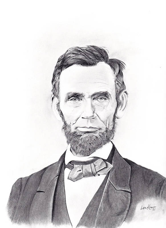 Abraham Lincoln Art Print featuring the drawing Abraham Lincoln by Lou Knapp