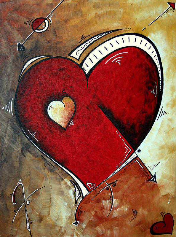 Abstract Art Print featuring the painting Abstract Heart Original Painting Valentines Day Heart Beat By Madart by Megan Duncanson