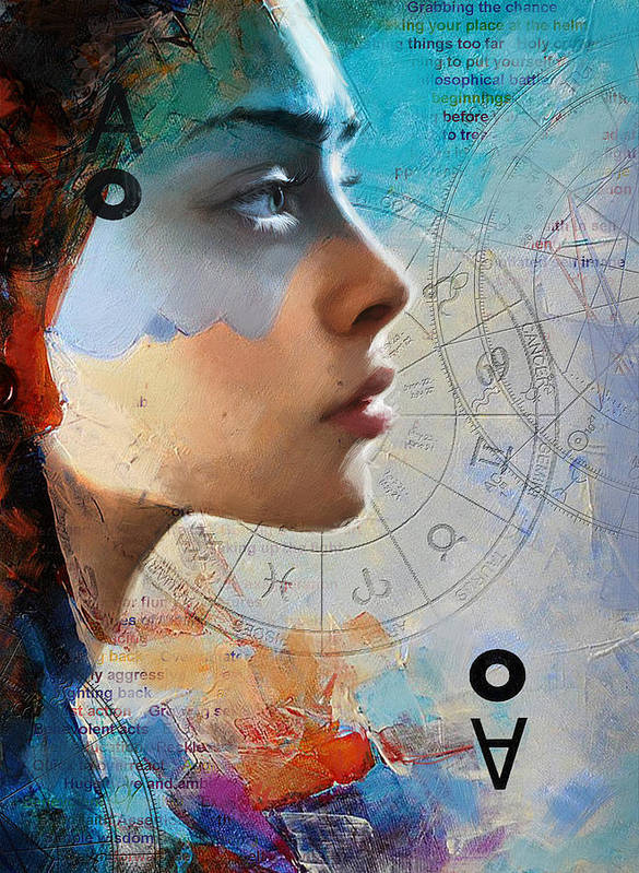Virgo Art Print featuring the painting Abstract Tarot Art 019 by Corporate Art Task Force