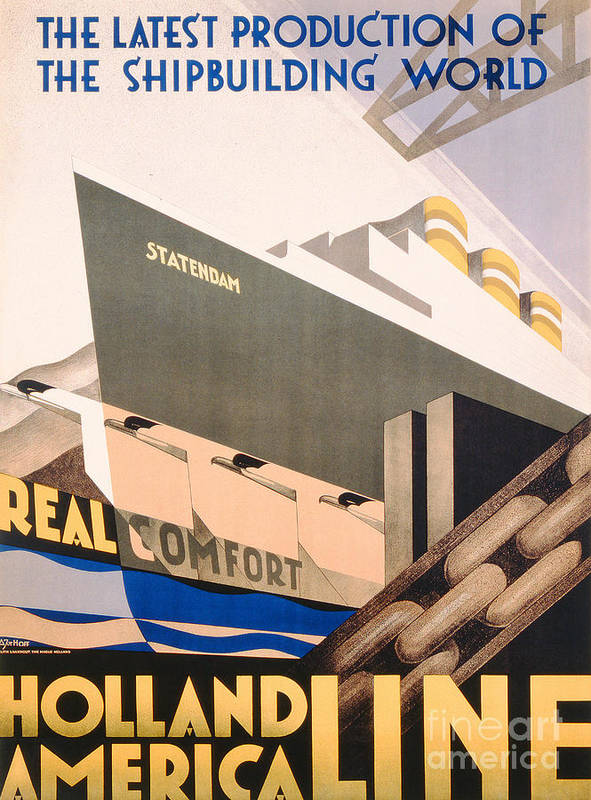 Art Deco Art Print featuring the painting Advertisement For The Holland America Line by Hoff