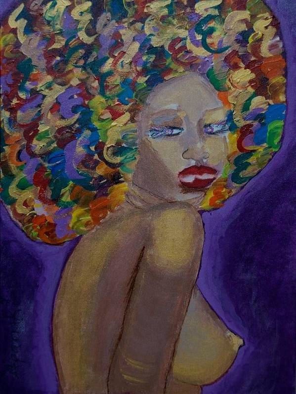 Semi Nude Art Print featuring the painting Afro-chic by Apanaki Temitayo M