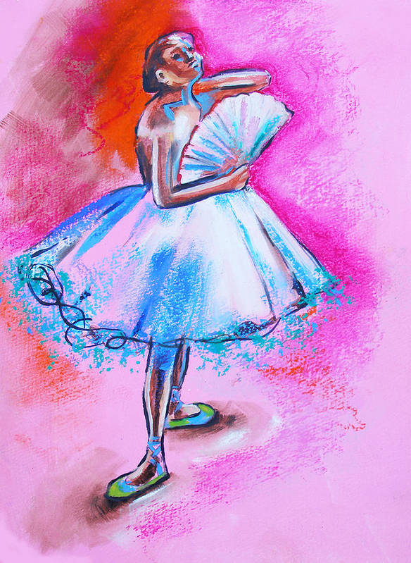 Degas Art Print featuring the painting After Master Degas Ballerina With Fan by Susi Franco