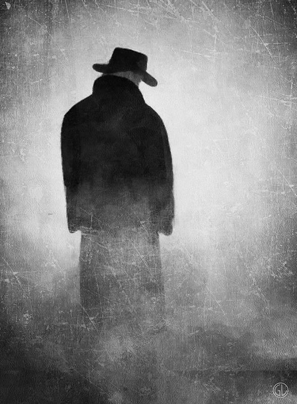 Man Art Print featuring the digital art Alone In The Fog 2 by Gun Legler