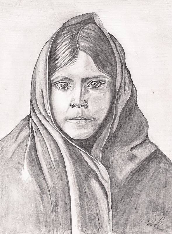 Girl Art Print featuring the painting An Apache Daughter by Beverly Marshall