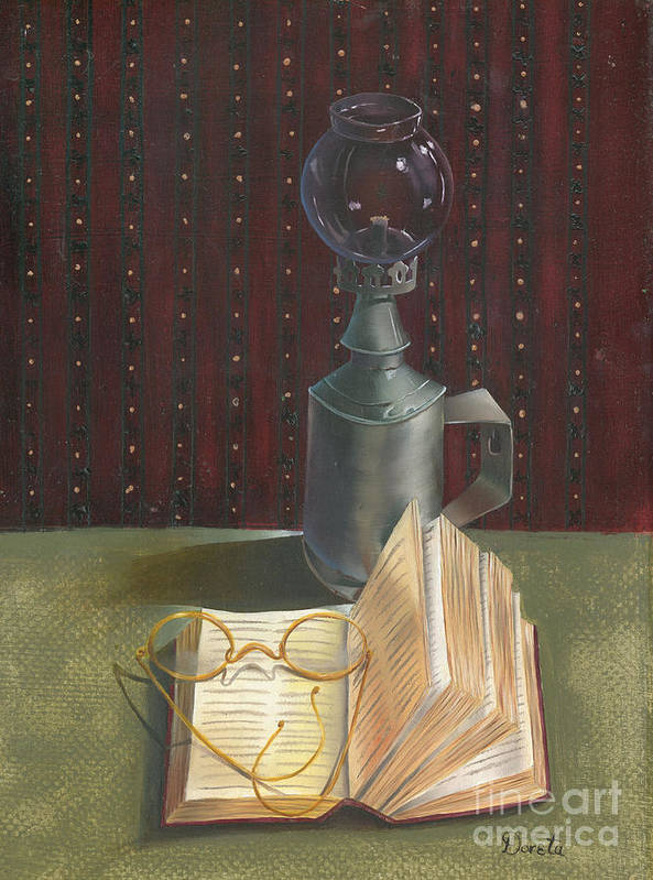 Doreta Boyd Art Print featuring the painting An Old Fashion Read by Doreta Boyd