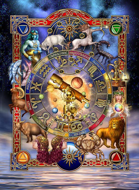 Ciro Marchetti Art Print featuring the digital art Astrology by Ciro Marchetti
