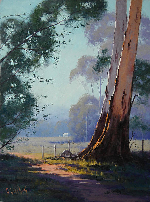 River Art Print featuring the painting Australian Farm Painting by Graham Gercken