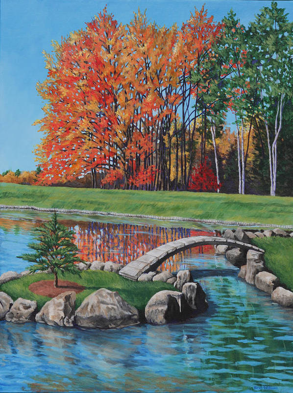 Landscape Art Print featuring the painting Autumn Glory At The Arboretum by Penny Birch-Williams