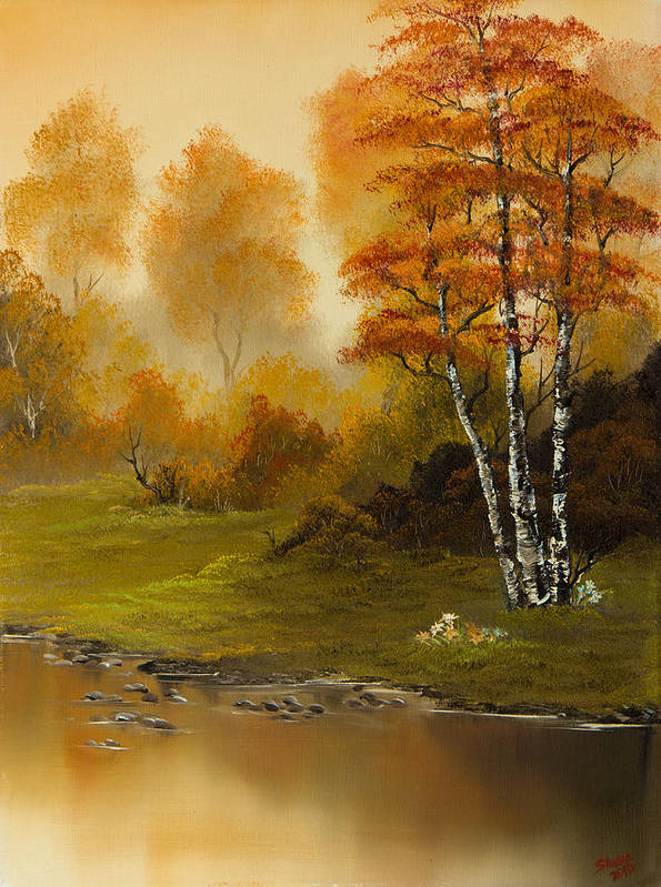 Landscape Art Print featuring the painting Autumn Splendor by Chris Steele