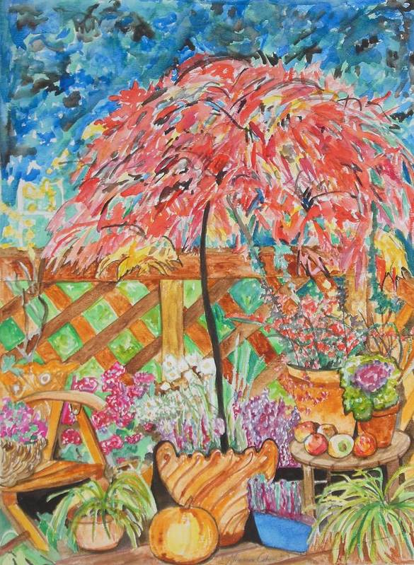 Backyard Summer Splendid Art Print featuring the painting Backyard Summer Splendid by Esther Newman-Cohen