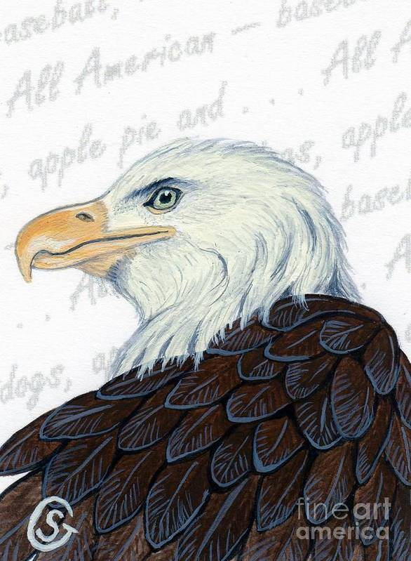 Bald Eagle Art Print featuring the painting Bald Eagle -- Proud To Be An American by Sherry Goeben
