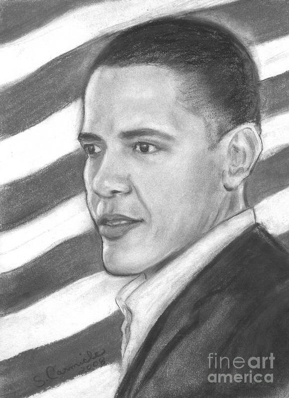 Politician Print featuring the drawing Barack by Sue Carmicle