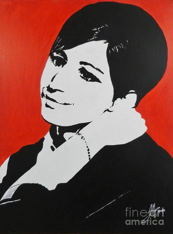 Barbra Streisand Art Print featuring the painting Barbra Streisand by Juan Molina
