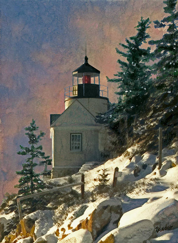Bass Harbor Art Print featuring the painting Bass Harbor Light In A Winter Storm by Brent Ander