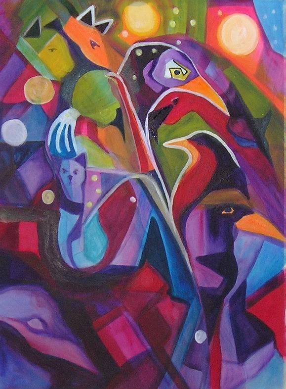 Expressionism Art Print featuring the painting Bird Dreams by Carolyn LeGrand