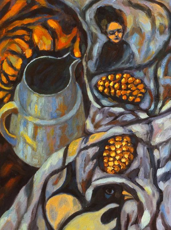 Still Life Art Print featuring the painting Bird Scarf by Kendall Kessler