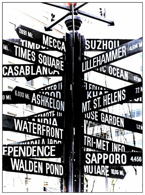 Downtown Portland Art Print featuring the photograph Black And White Directions by Cathie Tyler