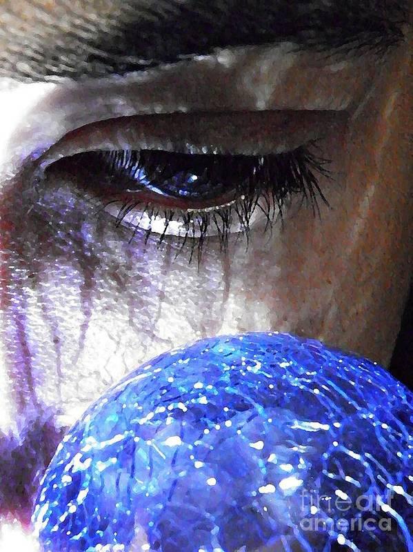 Blue Glass World Art Print featuring the photograph Blue Glass World by Sarah Loft