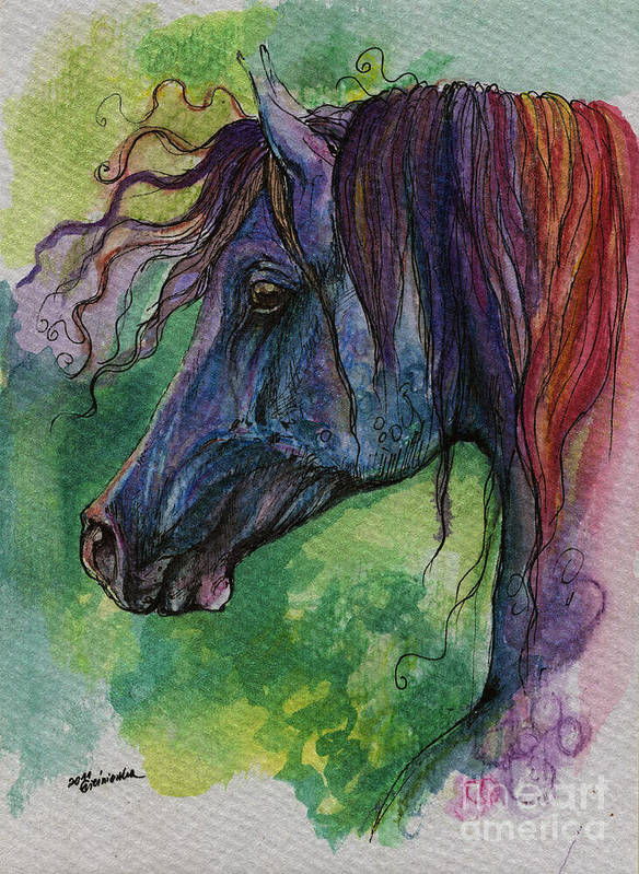 Fairytale Art Print featuring the painting Blue Horse With Red Mane by Angel Ciesniarska